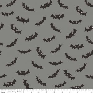 Bats in Gray - Cats, Bats, and Jacks - Riley Blake