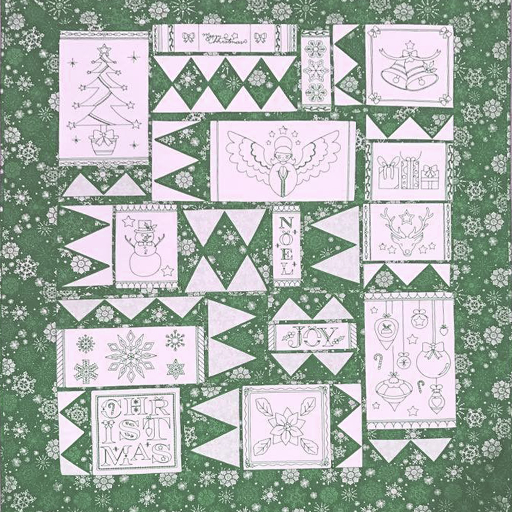 Green Work Embroidery QuiltGreen Work Embroidery Quilt