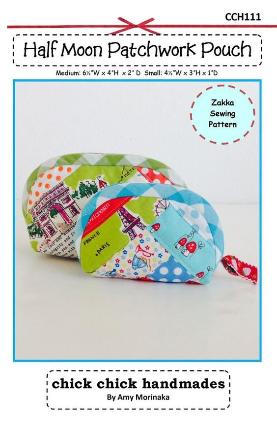 Half Moon Patchwork Pouch Pattern by Amy Morinaka