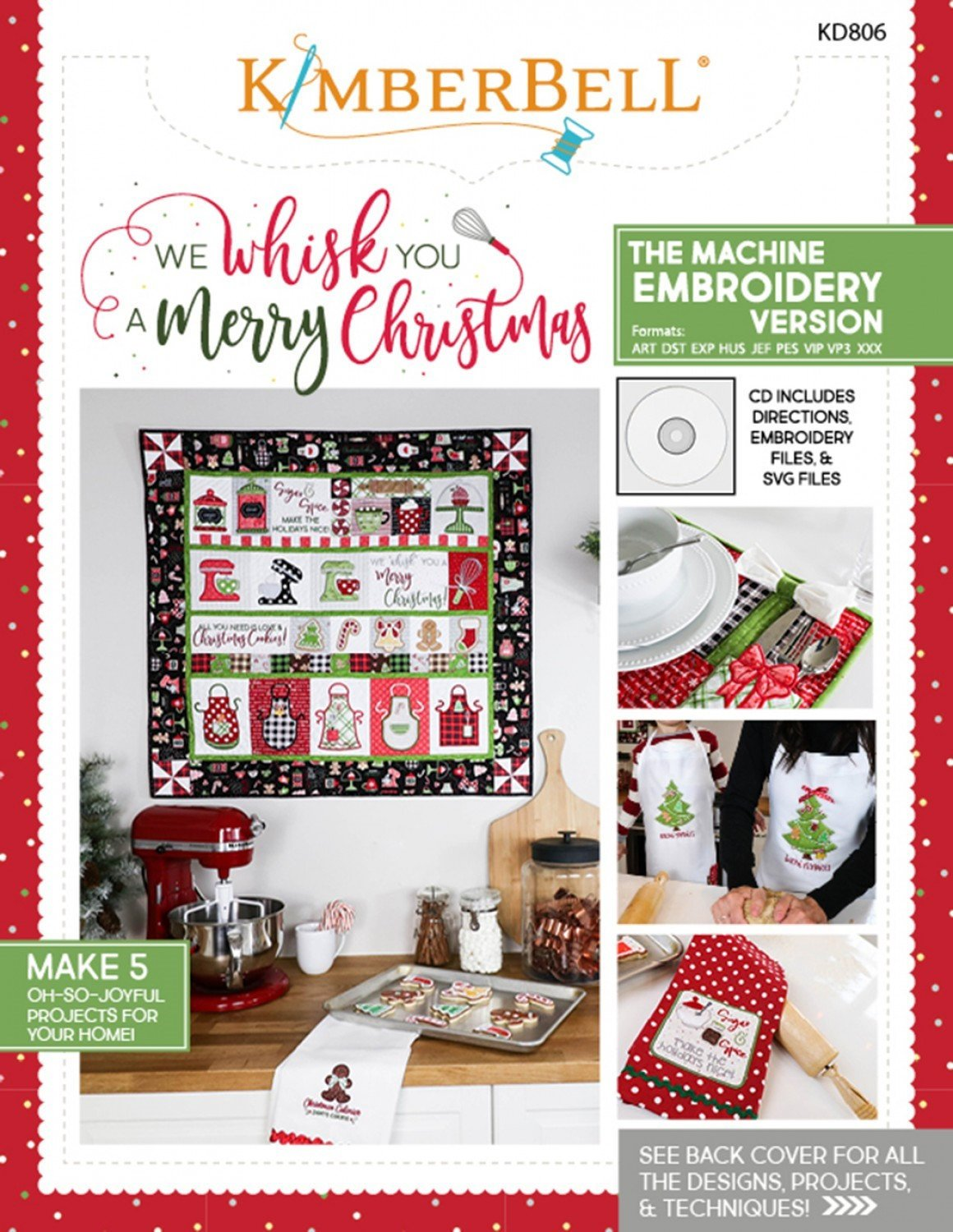 We Whisk You a Merry Christmas Machine Embroidery Pattern - Kimberbell Designs