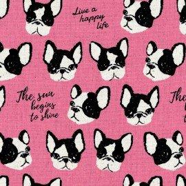 Black & White - Canvas - Bulldog Pink - Kokka