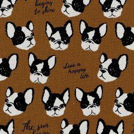 Black & White- Canvas - Bulldog Brown - Kokka
