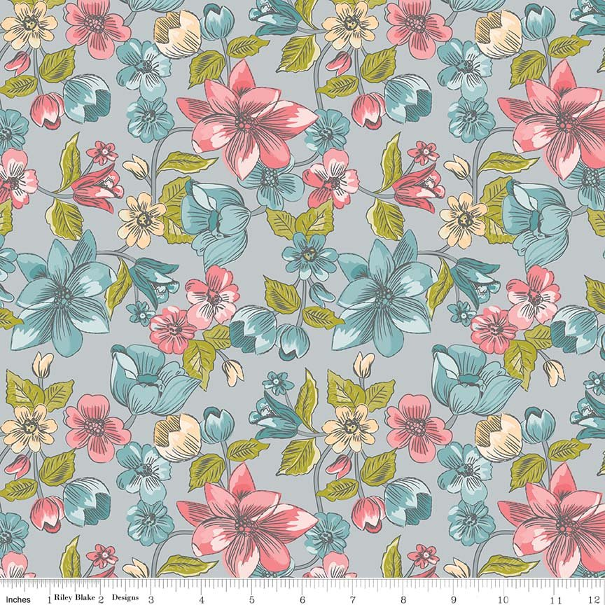 Lawn Floral Gray - Sue Daley - Riley Blake