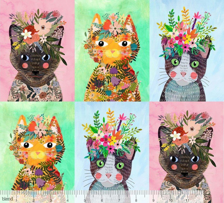 More Floral Kitties Multi - More Floral Pets - Mia Charro - Blend Fabrics