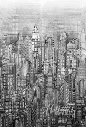 Steel - Winter Skylines - Hoffman Fabrics