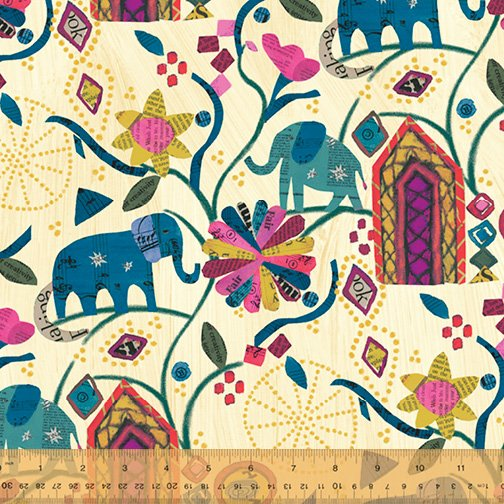 Old Paper Garden of Dreams Metallic - Wish - Carrie Bloomston - Windham Fabrics