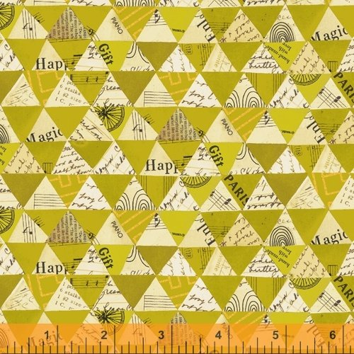 Olive Oil Collaged Triangles - Wish - Carrie Bloomston - Windham Fabrics