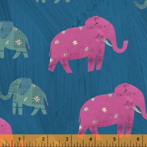 Peacock Starry Elephants - Wish - Carrie Bloomston - Windham Fabrics