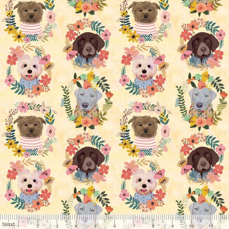 Puppy Wreaths Ivory - More Floral Pets - Mia Charro - Blend Fabrics
