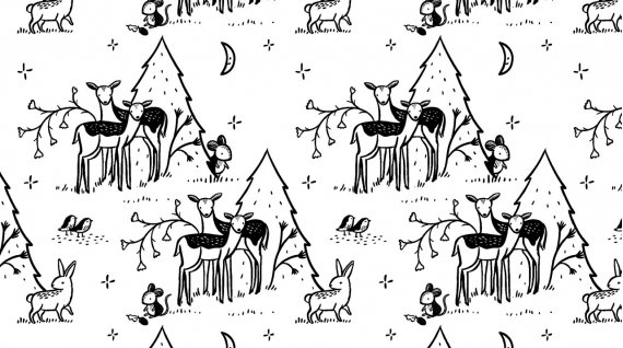 Main Print: White - Fawn and Forest - Dear Stella Designs