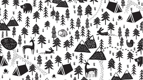 Harvest Moon: White - Fawn and Forest - Dear Stella Designs - 7/8 YD