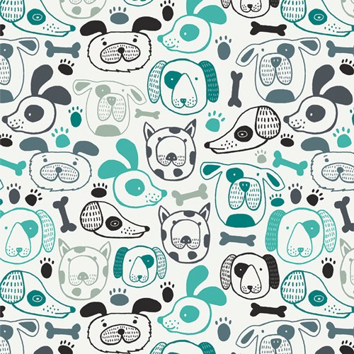 Woof This Way: Teal - Oh, Woof!  - Jessica Swift - Art Gallery Fabric