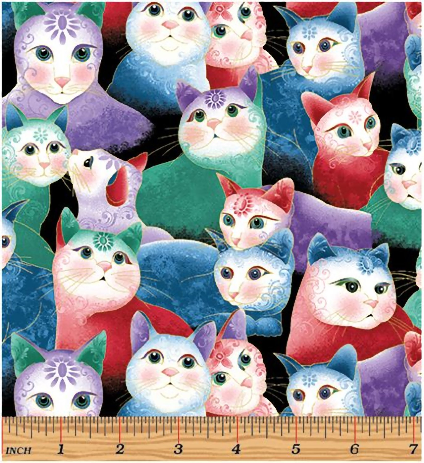 Benartex Sweetheart Cats Multi Fabric