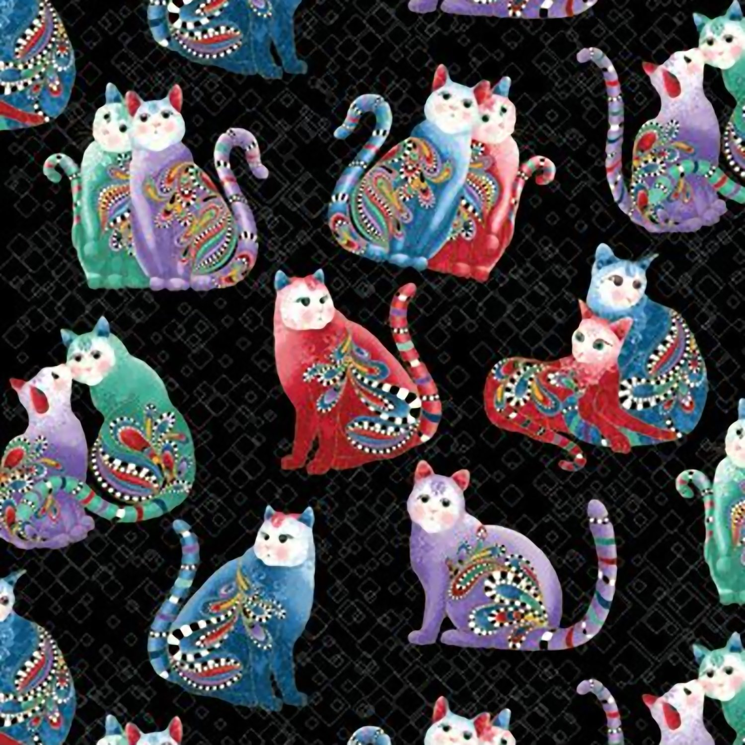 Benartex Playful Cats Black/Multi Fabric