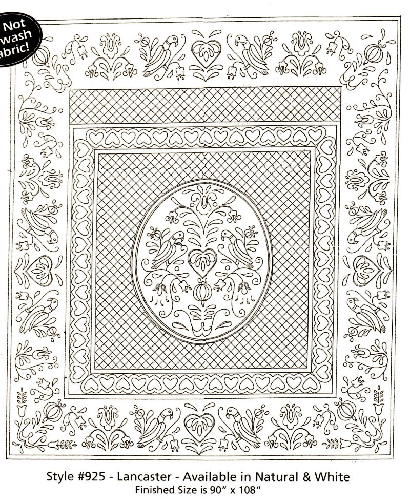 Lancaster Pre-Printed Wholecloth Quilt  90 x 108 Natural