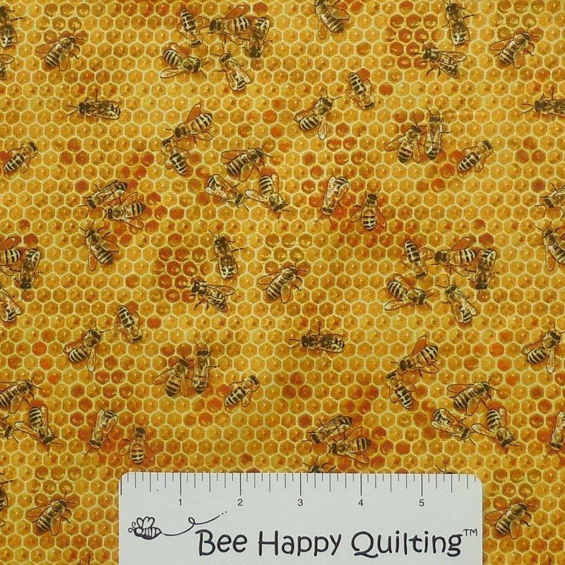 Bees & Flowers Elizabeth Studio 510 Honey Fabric