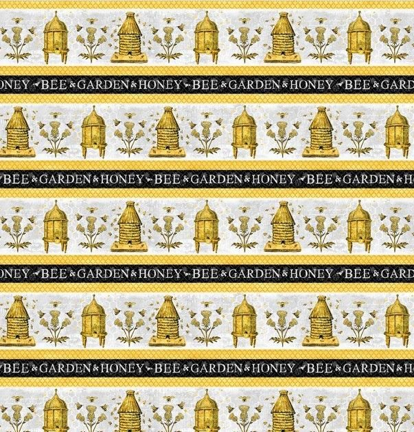 Wilmington Prints A Bee's Life Gray Gold Repeating Stripe Fabric