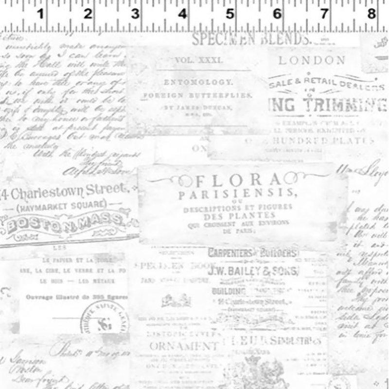 Botanical Journal - Digital Script Fabric- Y3243-116 Grey Mist