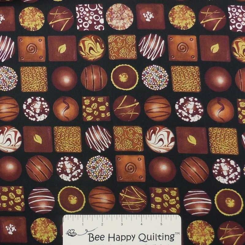 Box of Chocolates Fabric Black