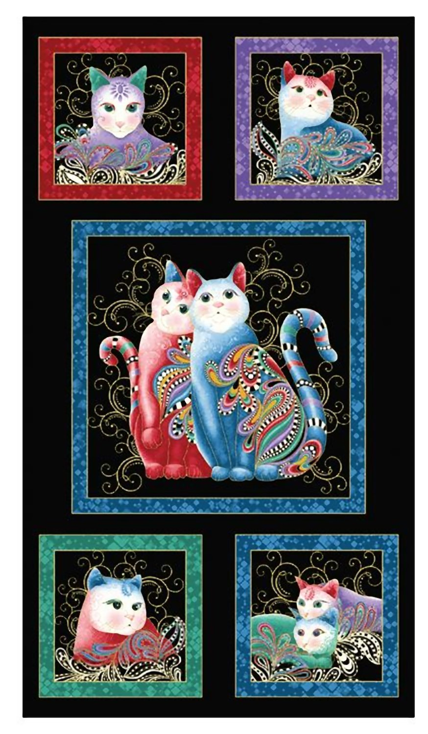 Benartex PurrFect Together Cat Panel Black Multi Fabric