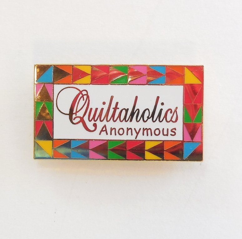Quiltaholics Anonymous Pin White