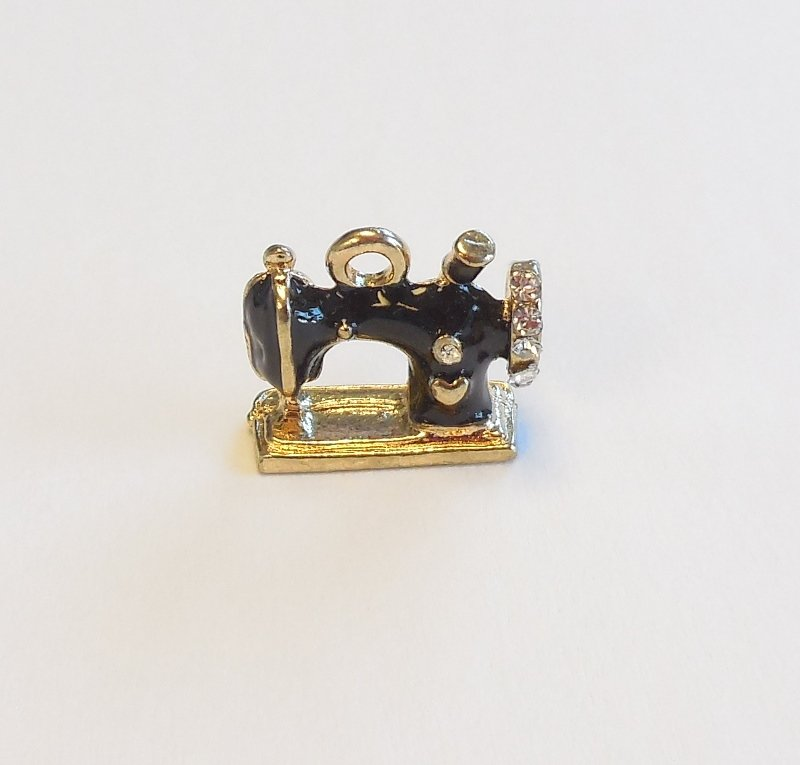 Sewing Machine Charm with Rhinestones