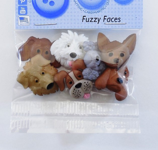 Fuzzy Faces Button Pack  7ct