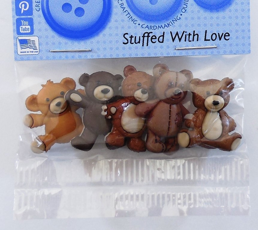 Stuffed with Love Bear Button Pack  5ct