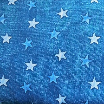 Benartex Stars on Denim Blue Fabric