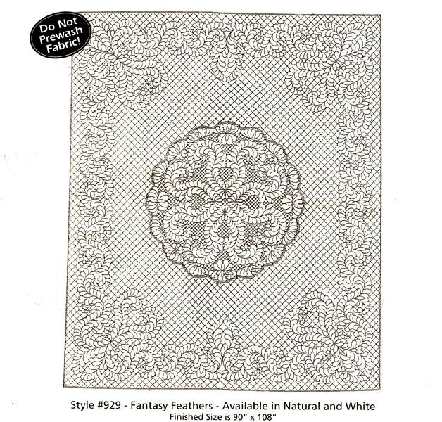 Fancy Feathers Pre-Printed Wholecloth Quilt 90 x 108 White