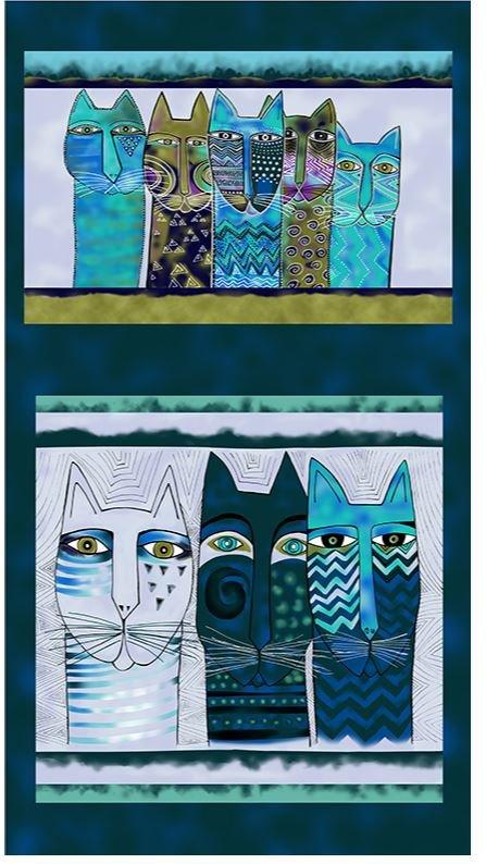 Laurel Burch Feline Frolic Y2794-105M Pillow Panel 24 x 44 Blue