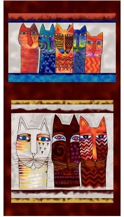 Laurel Burch  Feline Frolic Y2794-55M Pillow Panel 24 x 44 Brown