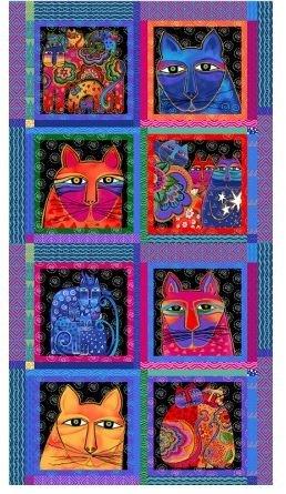 Laurel Burch Feline Frolic Y2796-55M Panel 24 x 44 with 8 Unframed Blocks