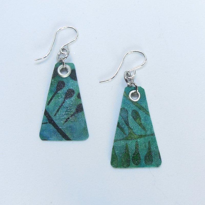 Forest Fabric Batik Tri Earrings