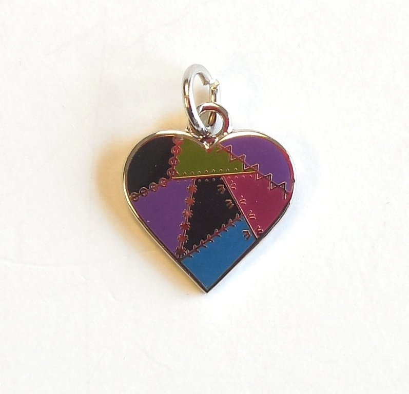 Patched Heart Charm Dark