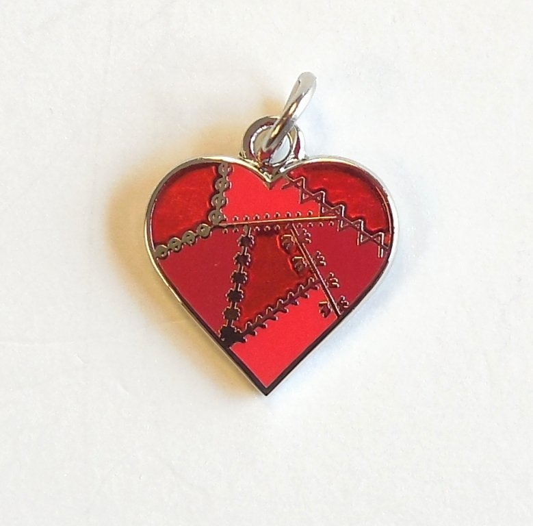 Patched Heart Charm Red