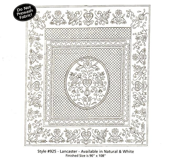 Lancaster Pre-Printed Wholecloth Quilt  90 x 108 WHITE