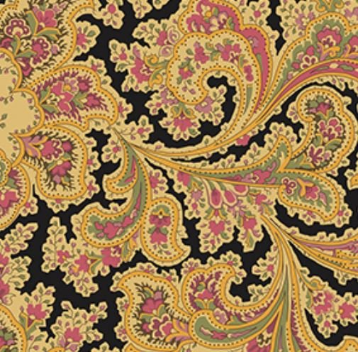 Benartex Malabar Paisley Ebony 108 Wide Backing Fabric