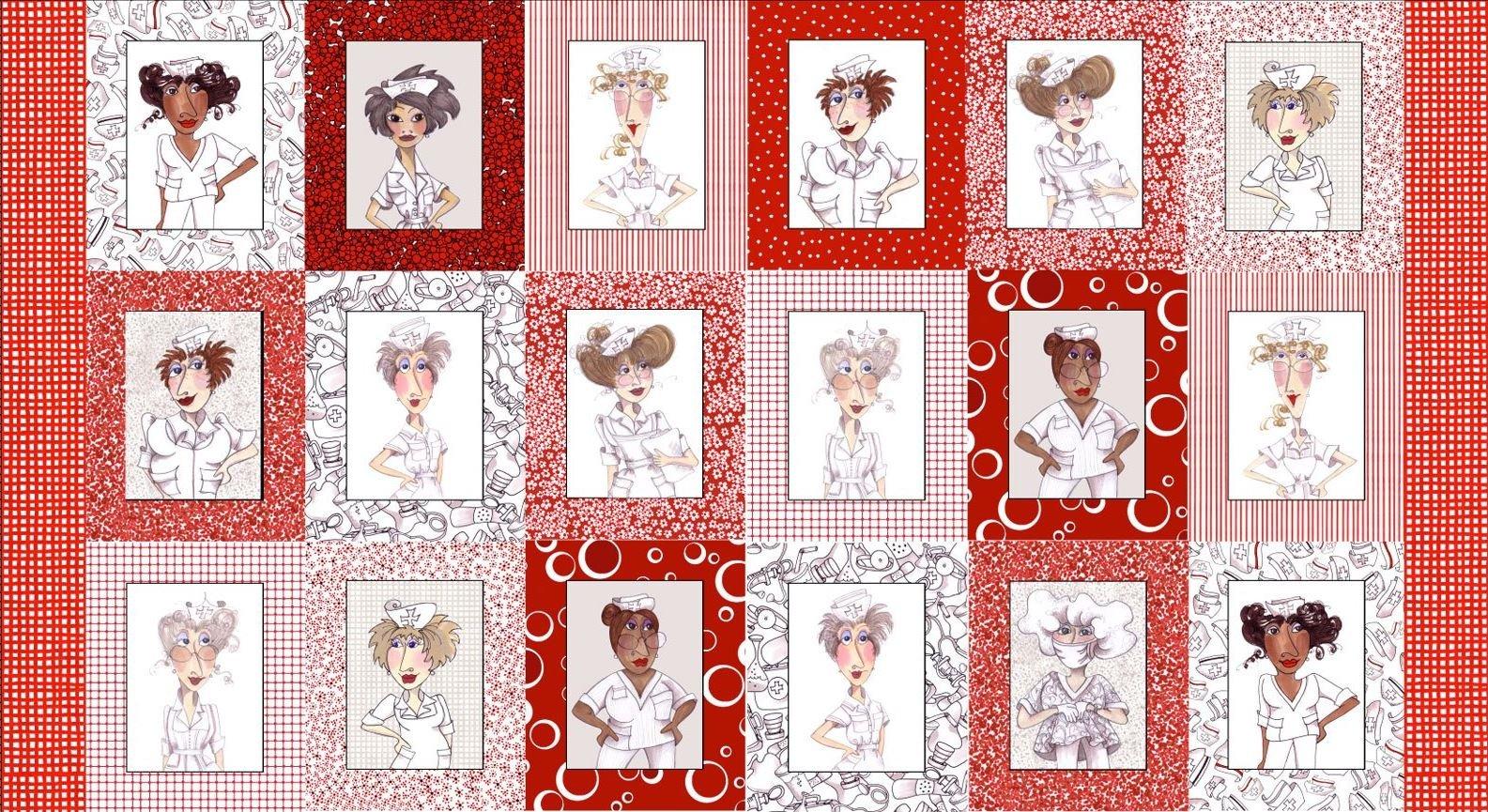 Nifty Nurses Fabric Panel by Loralie Designs