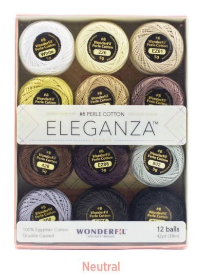 Wonderfil ELEGANZA Neutral Collection 12 Pack 100% Cotton Size 8 - 5g balls Embroidery Applique Quilting