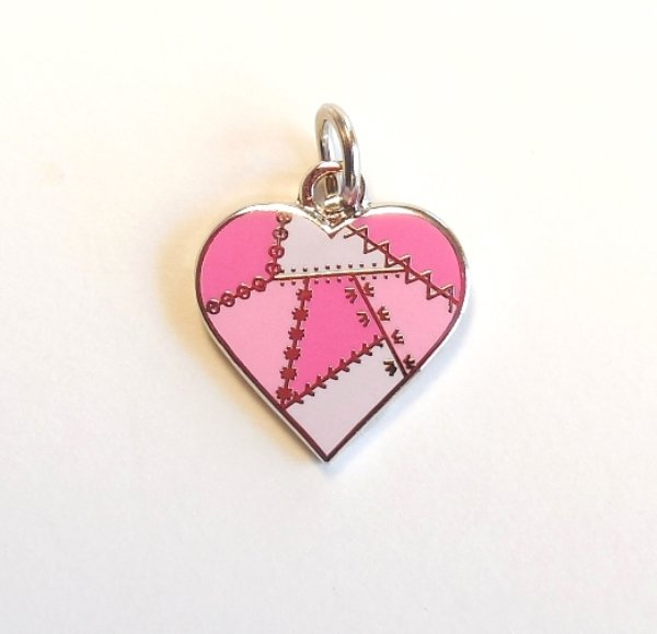Patched Heart Charm Pink
