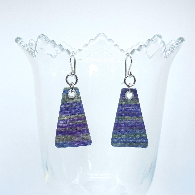 Purple Stripe Tri Earrings