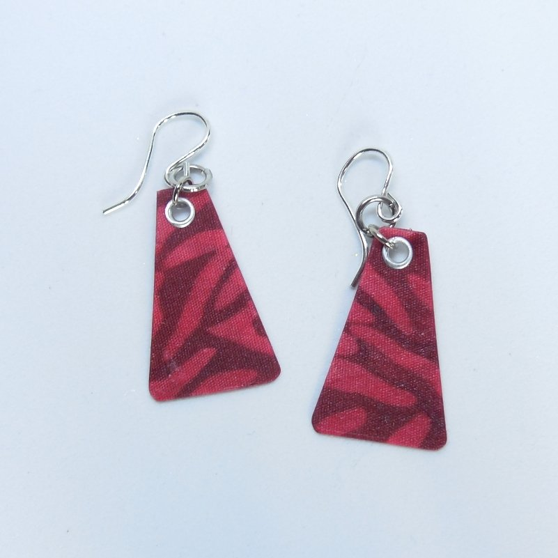 Red Watercolor Tri Earrings