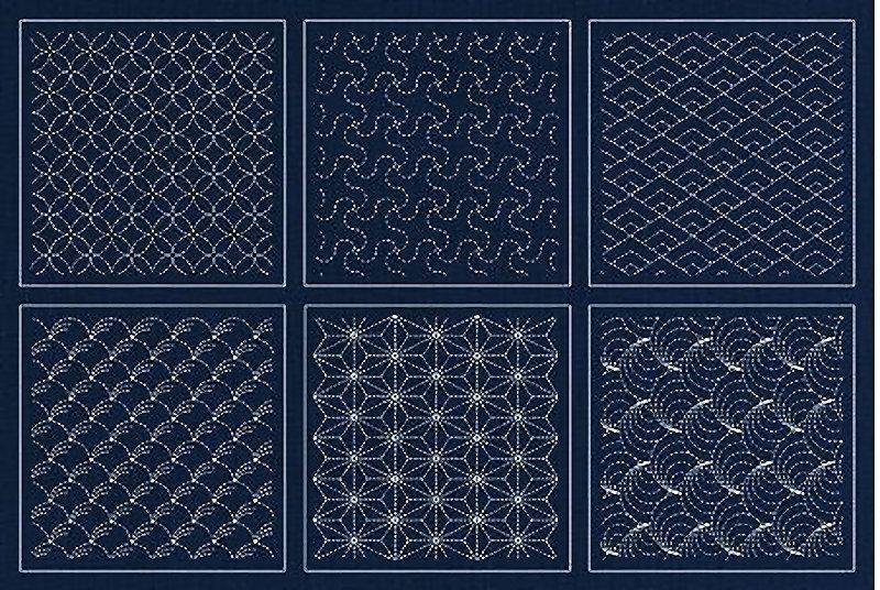 Preprinted Wholecloth Sashiko Sampler Indigo Blue