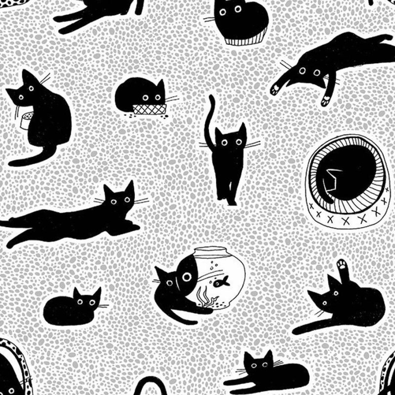 CHILLIN from Les Chats Noirs STELLA-LW1768 WHITE Black Cat Fabric from Dear Stella