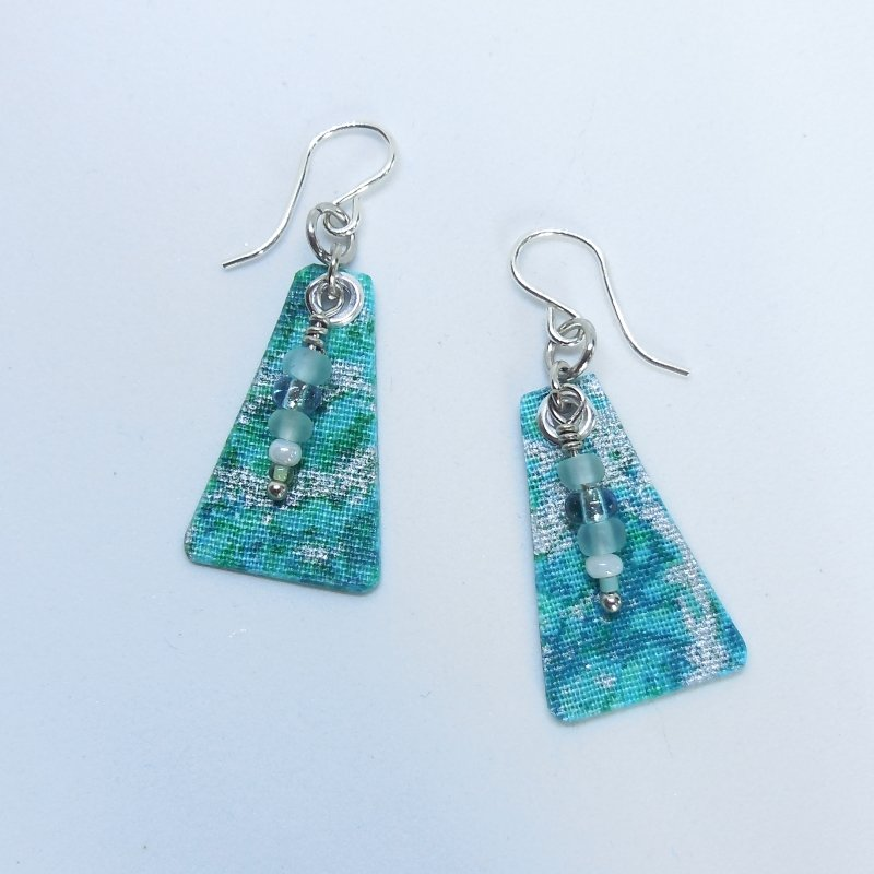 Teal Shimmer Tri Earrings with Beads