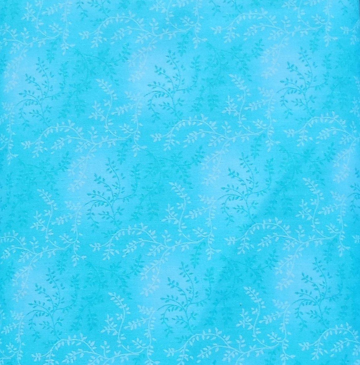 108 Wide Teal/Aqua Vine Backing Fabric