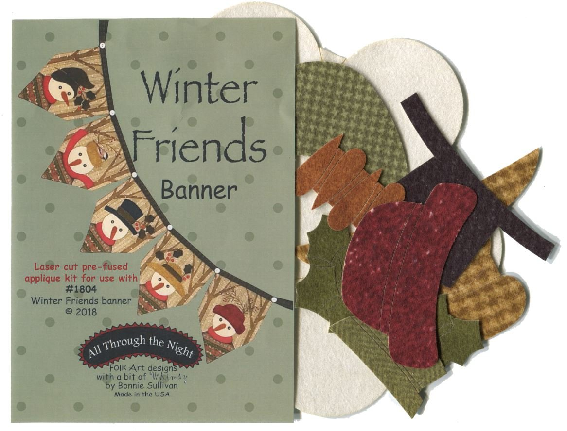 Winter Friends Snowman Banner Pre-cut Applique Kit