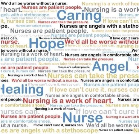 Windham Calling all Nurses Fabric - Words of Praise