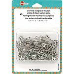 Curved Rustproof Nickel Plated Steel Safety Pins 60 pcs